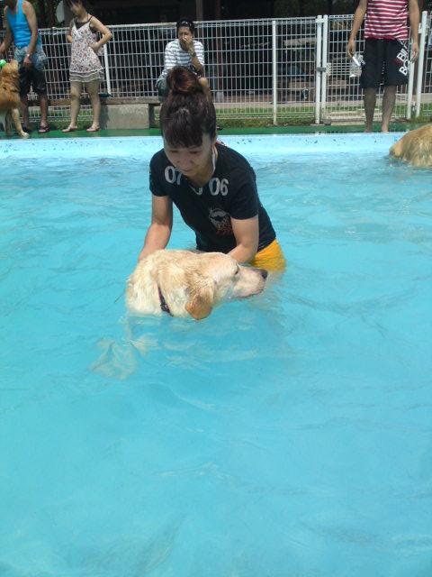 クリスに泳ぎを、、、